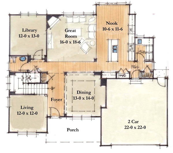 Lifetime series homes by mueller homes inc for House plans with large kitchen and family room